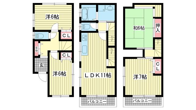 物件番号: 1025869233 雲井通3丁目貸家  神戸市中央区雲井通3丁目 4LDK 貸家 間取り図