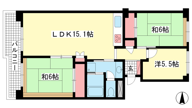 物件番号: 1025869299 神戸ポートビレジ3号棟  神戸市中央区港島中町3丁目 3LDK マンション 間取り図