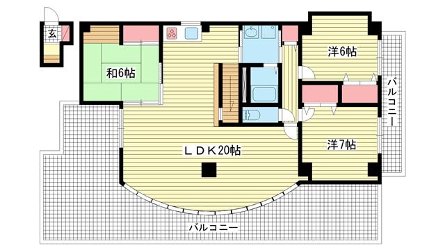 物件番号: 1025869329 APP・RIMAT(アプリマット)  西宮市神園町 3LDK マンション 間取り図