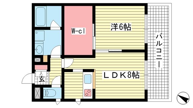物件番号: 1025869390 古満ゲボイデ  神戸市中央区海岸通3丁目 1SLDK マンション 間取り図