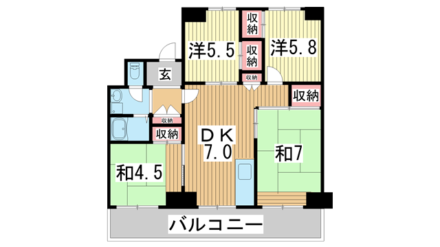 物件番号: 1025869437 名谷7団地34号棟  神戸市須磨区竜が台1丁目 4DK マンション 間取り図
