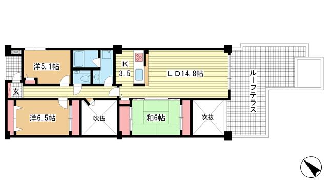 物件番号: 1025869448 ジオ六甲山手  神戸市灘区篠原台 3LDK マンション 間取り図