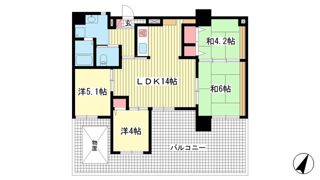 物件番号: 1025869450 ブルーム神戸三宮  神戸市中央区二宮町3丁目 4LDK マンション 間取り図