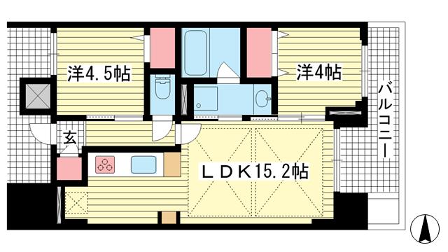 物件番号: 1025869482 ワコーレ神戸北野ザ・テラス  神戸市中央区加納町2丁目 2LDK マンション 間取り図