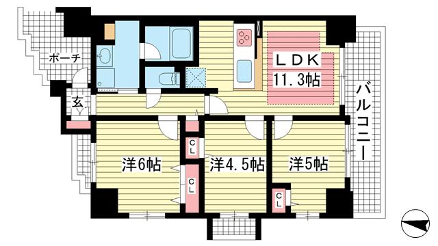 物件番号: 1025869483 リベールKOBE兵庫ジェネックス  神戸市兵庫区松原通5丁目 3LDK マンション 間取り図