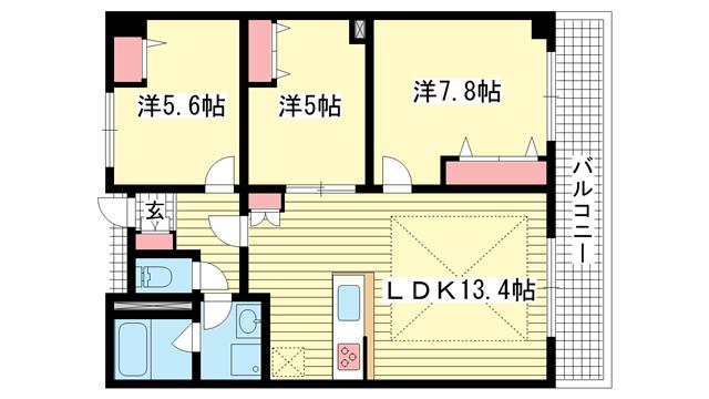 物件番号: 1025869490 ロイヤルヒル北野  神戸市中央区加納町2丁目 3LDK マンション 間取り図