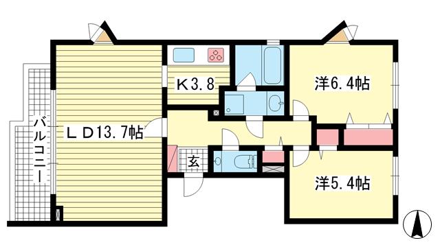 物件番号: 1025869512 シュネルパーク・レジデンス  神戸市東灘区西岡本6丁目 2LDK マンション 間取り図