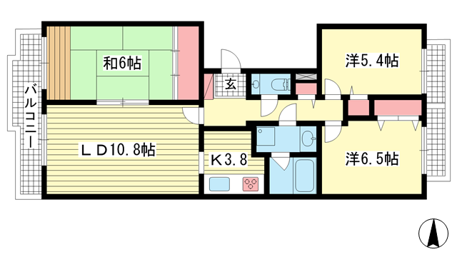 物件番号: 1025869515 シュネルパーク・レジデンス  神戸市東灘区西岡本6丁目 3LDK マンション 間取り図