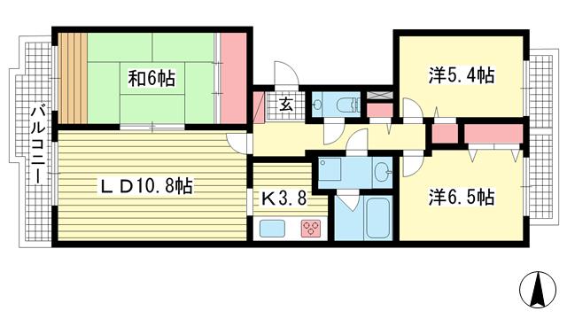 物件番号: 1025869516 シュネルパーク・レジデンス  神戸市東灘区西岡本6丁目 3LDK マンション 間取り図