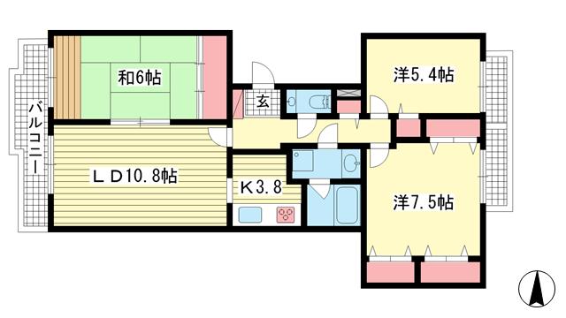 物件番号: 1025869517 シュネルパーク・レジデンス  神戸市東灘区西岡本6丁目 3LDK マンション 間取り図
