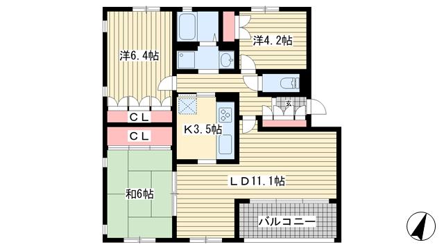 物件番号: 1025869529 フォレスト竹の台  神戸市西区竹の台2丁目 3LDK マンション 間取り図