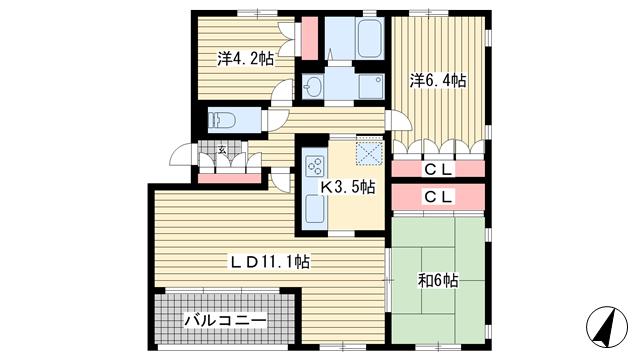 物件番号: 1025869530 フォレスト竹の台  神戸市西区竹の台2丁目 3LDK マンション 間取り図