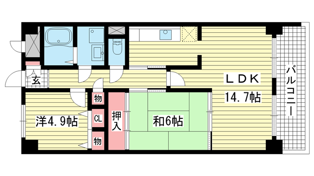 物件番号: 1025869563 新神戸ネクステージ  神戸市中央区生田町3丁目 2LDK マンション 間取り図