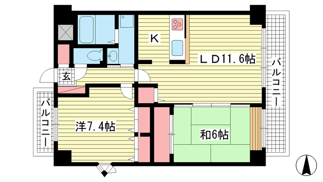 物件番号: 1025869570 ブリックロード・山の手  神戸市中央区下山手通8丁目 2LDK マンション 間取り図
