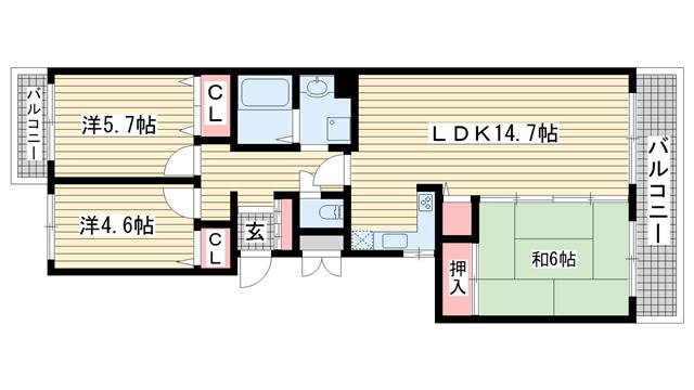 物件番号: 1025869594 鈴蘭泉台第7ハウス2号棟  神戸市北区泉台3丁目 3LDK マンション 間取り図
