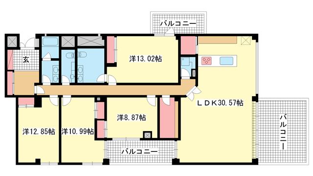 物件番号: 1025869615 パラマウント六甲  神戸市灘区篠原北町3丁目 4LDK マンション 間取り図