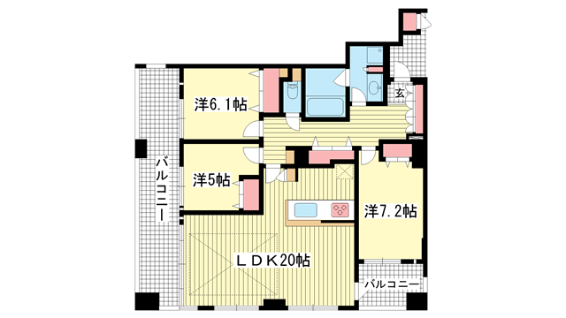 物件番号: 1025869725 ワコーレ神戸北野セリュックス  神戸市中央区加納町2丁目 3LDK マンション 間取り図