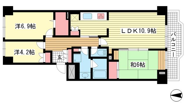 物件番号: 1025869738 須磨パークヒルズH棟  神戸市須磨区道正台1丁目 3LDK マンション 間取り図