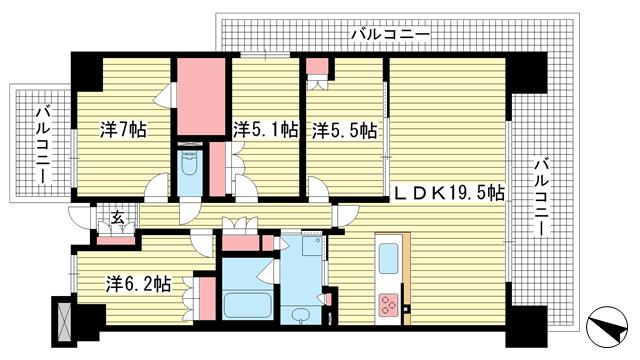 物件番号: 1025869913 ワコーレシティ神戸三宮  神戸市中央区浜辺通6丁目 4LDK マンション 間取り図
