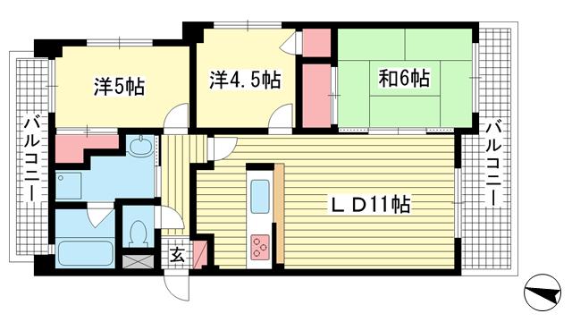物件番号: 1025869930 ランドール六甲  神戸市灘区山田町2丁目 2LDK マンション 間取り図