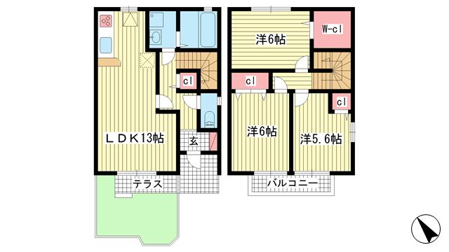 物件番号: 1025869955 ソレアードD棟  神戸市北区北五葉6丁目 3LDK テラスハウス 間取り図