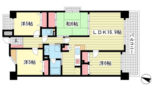 物件番号: 1025869956 ダイアパレス三宮エスタシオ  神戸市中央区吾妻通1丁目 4LDK マンション 間取り図