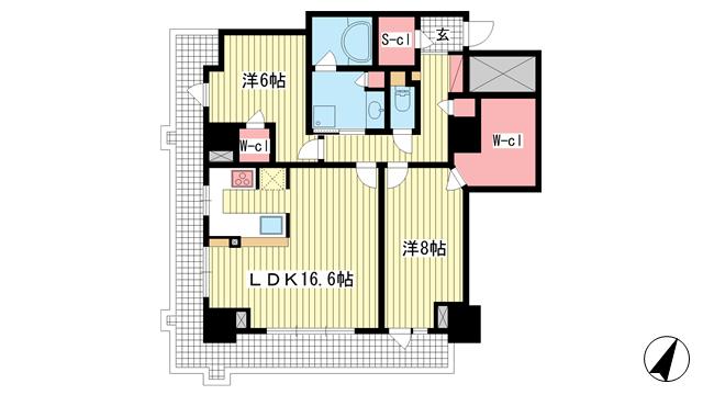 物件番号: 1025869967 ライオンズタワー神戸元町  神戸市中央区栄町通3丁目 2LDK マンション 間取り図