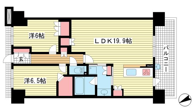 物件番号: 1025869976 プレミスト神戸ハーバーレジデンス  神戸市中央区相生町5丁目 2LDK マンション 間取り図