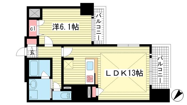 物件番号: 1025870084 プレサンスKOBEグレンツ  神戸市兵庫区新開地3丁目 1LDK マンション 間取り図