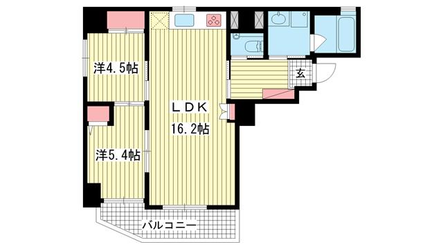 物件番号: 1025870148 エイジングコート三宮  神戸市中央区磯上通3丁目 2LDK マンション 間取り図