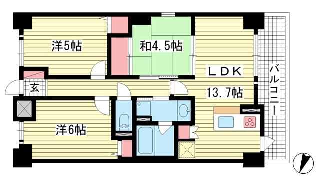 物件番号: 1025870151 リベール東灘青木  神戸市東灘区青木6丁目 3LDK マンション 間取り図