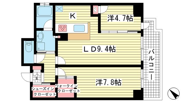 物件番号: 1025870154 グランティーク下沢通  神戸市兵庫区下沢通2丁目 2LDK マンション 間取り図