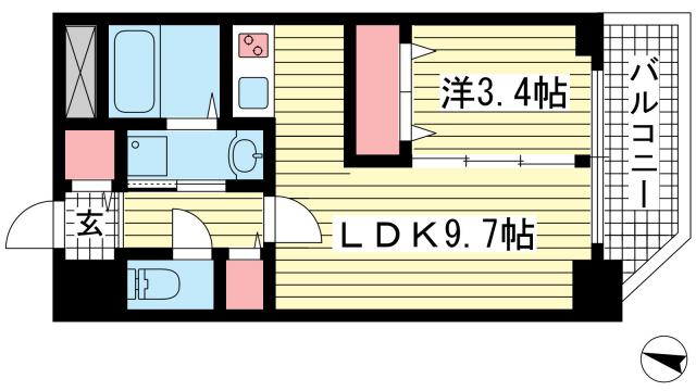 物件番号: 1025870215 セレニテ神戸元町  神戸市中央区海岸通3丁目 1LDK マンション 間取り図