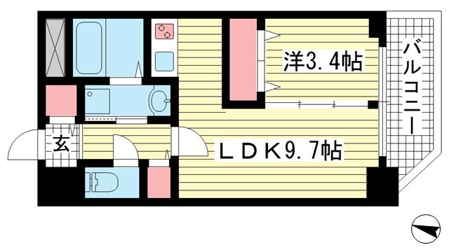 物件番号: 1025870222 セレニテ神戸元町  神戸市中央区海岸通3丁目 1LDK マンション 間取り図