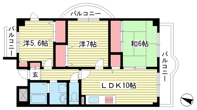 物件番号: 1025870293 ロイヤルコート本山  神戸市東灘区本山中町2丁目 3LDK マンション 間取り図