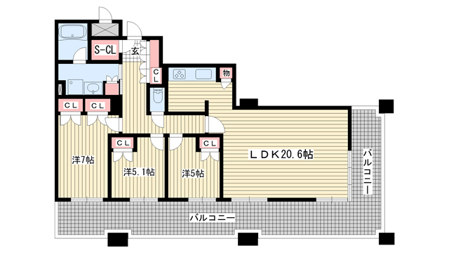 物件番号: 1025870357 D'グラフォート神戸三宮タワー  神戸市中央区八幡通4丁目 3LDK マンション 間取り図