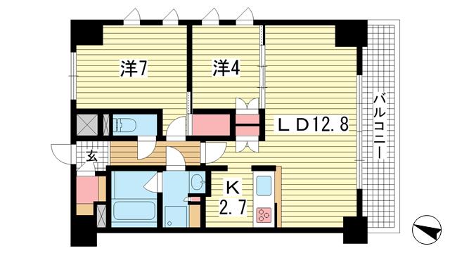 物件番号: 1025870369 プラネソシエ神戸元町  神戸市中央区栄町通4丁目 2LDK マンション 間取り図