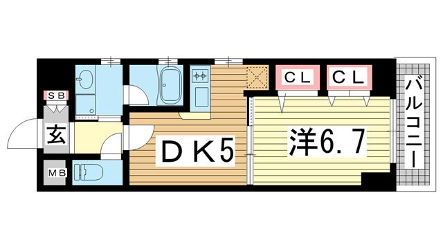 物件番号: 1025870394 プレジール三宮Ⅱ  神戸市中央区加納町2丁目 1DK マンション 間取り図