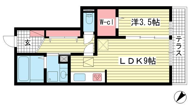 物件番号: 1025870529 ラメゾンヴェール神戸  神戸市中央区熊内町4丁目 1LDK マンション 間取り図