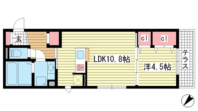 物件番号: 1025870530 ラメゾンヴェール神戸  神戸市中央区熊内町4丁目 1LDK マンション 間取り図