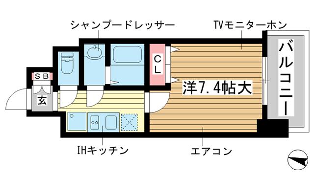 物件番号: 1025870541 フロイデ  神戸市中央区御幸通3丁目 1K マンション 間取り図