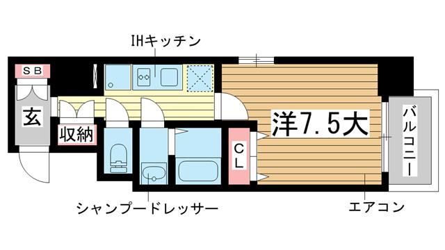 物件番号: 1025870545 フロイデ  神戸市中央区御幸通3丁目 1K マンション 間取り図