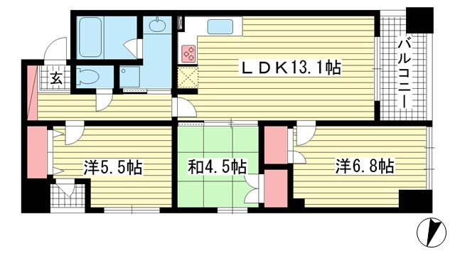 物件番号: 1025870583 アーバンビュー神戸三宮  神戸市中央区磯辺通4丁目 3LDK マンション 間取り図