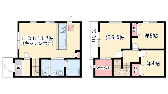 物件番号: 1025870607 レシア岡本  神戸市東灘区本山北町5丁目 3LDK テラスハウス 間取り図