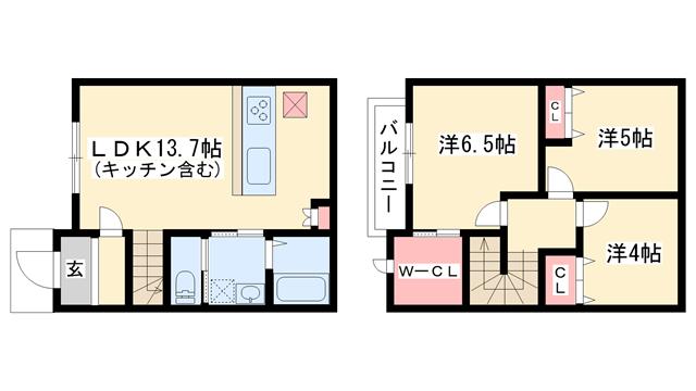 物件番号: 1025870608 レシア岡本  神戸市東灘区本山北町5丁目 3LDK テラスハウス 間取り図