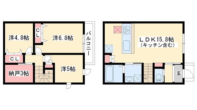 物件番号: 1025870612 レシア岡本  神戸市東灘区本山北町5丁目 3SLDK テラスハウス 間取り図