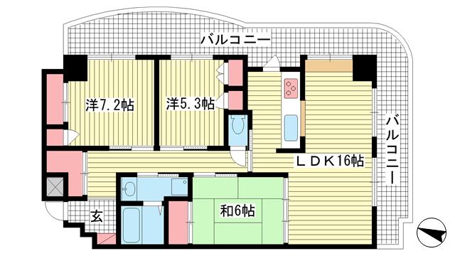 物件番号: 1025870614 ロマンツェ東灘  神戸市東灘区青木2丁目 2LDK マンション 間取り図
