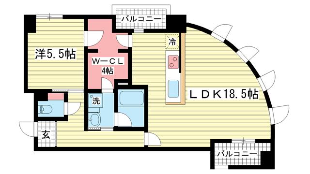 物件番号: 1025870712 古満ゲボイデ  神戸市中央区海岸通3丁目 1SLDK マンション 間取り図
