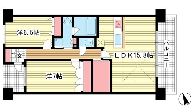 物件番号: 1025870736 ワコーレシティ神戸三宮  神戸市中央区浜辺通6丁目 2LDK マンション 間取り図