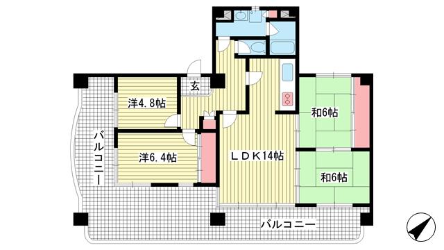 物件番号: 1025870747 ハイエスト中山手  神戸市中央区中山手通4丁目 4LDK マンション 間取り図